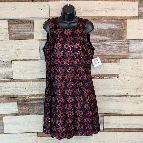 Anne Klein Dresses & Skirts - Anne Klein Red w/ Black Sequins Dress sz 8 NWT